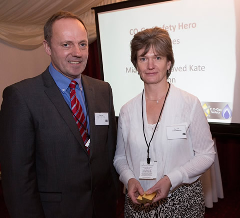 Mark Oliver of Wales & West Utilities with Trish Hines, midwife.
