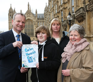 Winner Scotland 2015 Finlay Kettles with family  and teacher Margaret Cameron and Pete Wishart MP